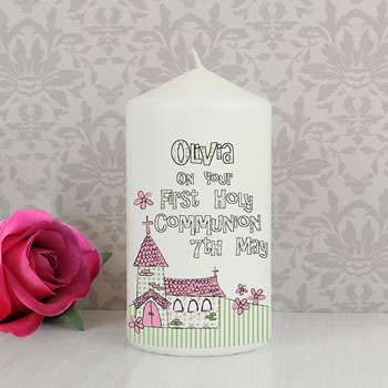 Church Personalised 1st Holy Communion Candle Boy or Girl