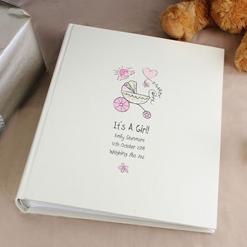 Whimsical Pram Personalised Photo Album with Sleeves