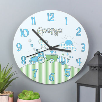 Boy's Blue Whimsical Train Personalised Wooden Baby Clock
