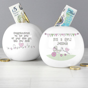 China Whimsical Pram It's a Girl Personalised Baby Money Box