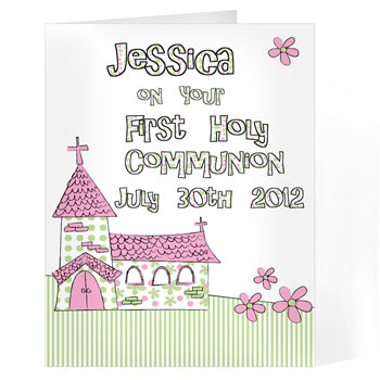 Whimsical Church Personalised Communion Card