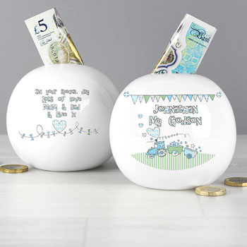Whimsical Train Godson Personalised China Money Box