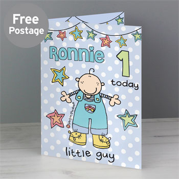 Boy's Little Guy Personalised Bang on the Door Birthday Card