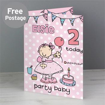Baby Girl Personalised Bang on the Door Card Any Age