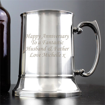 Personalised Engraved Stainless Steel Pint Tankard For Him