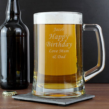 Engraved Personalised Pint Beer Glass Stern Tankard