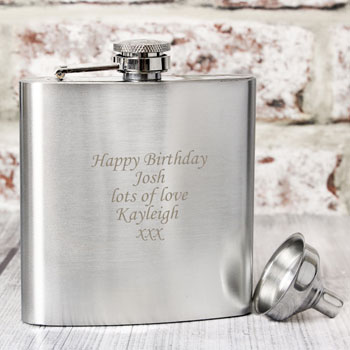 Boxed Engraved Personalised Stainless Steel Hipflask