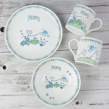 Whimsical Train Personalised China Baby Boy Breakfast Set