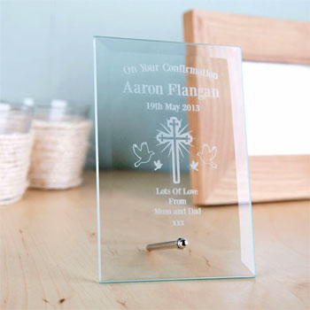Engraved Confirmation Glass Plaque
