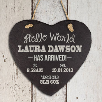 Personalised Hello World Slate Heart Baby Keepsake