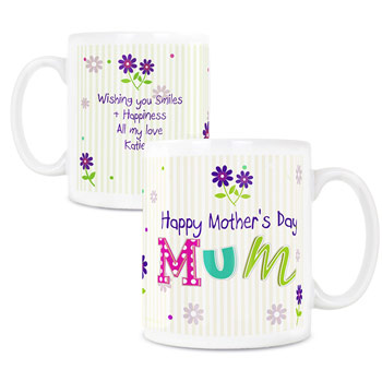 Patchwork Flowers Personalised China Women's Mug Any Message