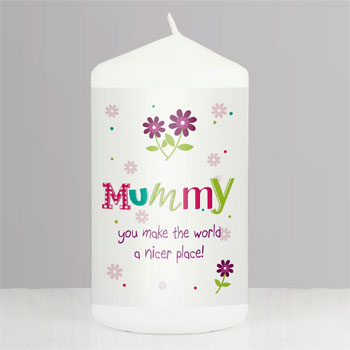 Personalised Patchwork Flower Candle Mummy Gift