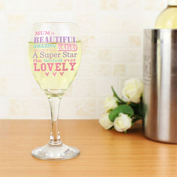 Personalised She Is Wine Glass Mummy Gran Nanny etc