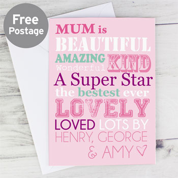 She Is... Personalised Pink Card Mummy, Granny, Auntie etc.