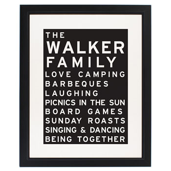 Typography Framed Personalised Family Print Mums, Dads etc.