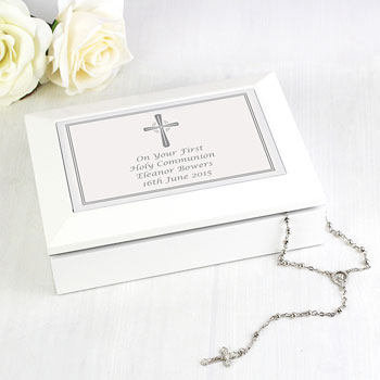 Personalised Silver Cross Wooden Communion Jewellery Box