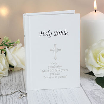 Personalised Christening or Communion White Holy Bible