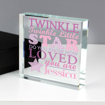 Twinkle Twinkle Baby Girls Personalised Crystal Token
