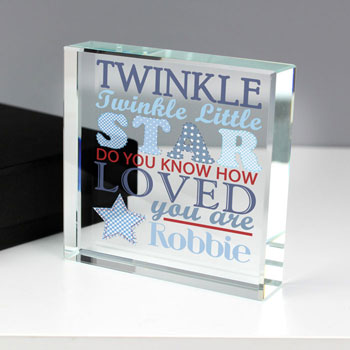 Twinkle Twinkle Baby Boys Personalised Crystal Token