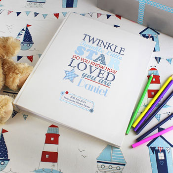 Twinkle Twinkle Boy's Personalised Baby Photo Album