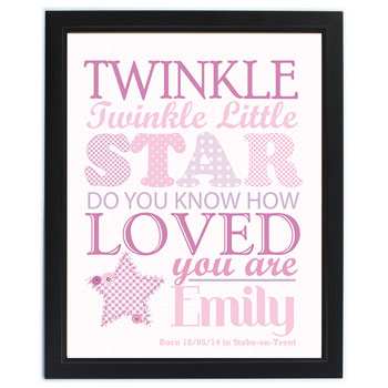 Twinkle Twinkle Baby Girls Personalised Pink Poster Frame