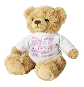 Twinkle Twinkle Girls Teddy With Personalised Jumper