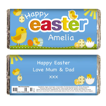 Children's Personalised Easter Chick Milk Chocolate Bar