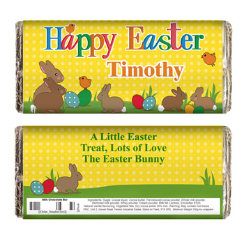 Children's Personalised Happy Easter Bunnies Chocolate Bar