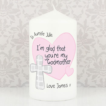 Personalised Godmother Candle With Cross Keepsake Gift