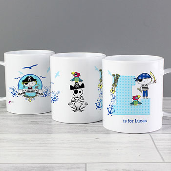 Boy's Drop Proof Personalised Pirate Initial Toddler Mug