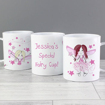 Girl's Drop Proof Personalised Fairy Plastic Name Cup