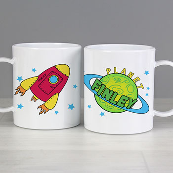 Boy's Drop Proof Plastic Personalised Space Rocket Name Mug