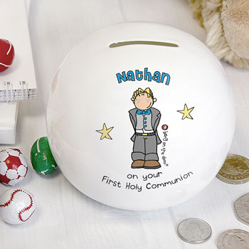 Personalised First Holy Communion Boy's China Money Box