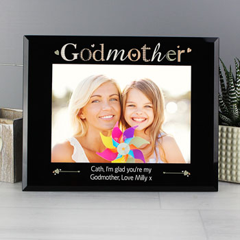 Personalised Godmother Black Glass Frame