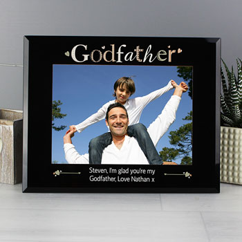 Personalised Godfather Black Glass Photo Frame Keepsake Gift