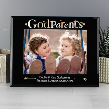 Personalised Godparents Black Glass Photo Frame