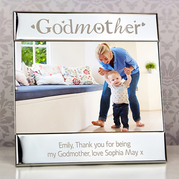 Engraved Silver Plated Godmother Square 6x4 Inch Photo Frame