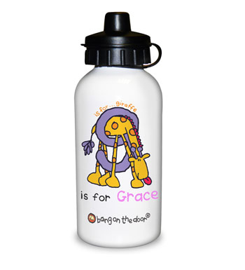 Personalised Animal Alphabet Girls Drinks Water Bottle