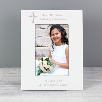 Personalised White Frame With Cross 6 x 4 inch