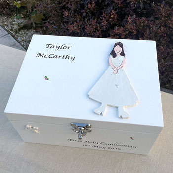 Girls First Holy Communion Personalised Keepsake Box