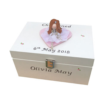 Girl's Personalised Christening Jewellery Box & Doll Figure