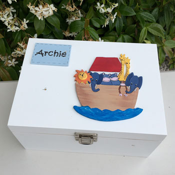 White Wooden Noah's Ark Personalised Keepsake Box