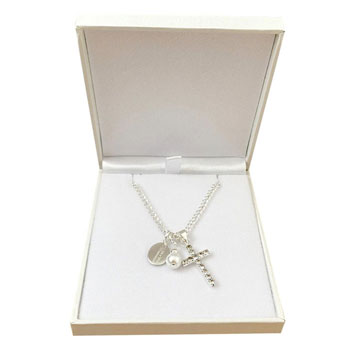 Engraved First Holy Communion Necklace with Cross and Pearl