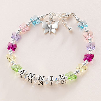 Personalised Silver and Swarovski Butterflies Name Bracelet