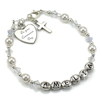 Girl's Personalised Communion Name Bracelet