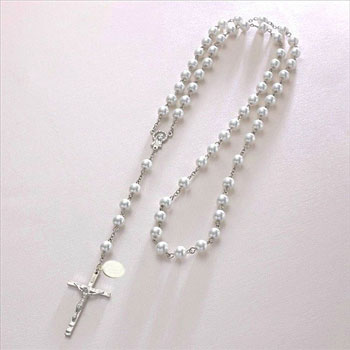 Girl's Personalised White Pearl Rosary Necklace