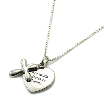 Sterling Silver Engraved Heart and Cross Necklace