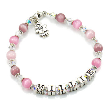 Personalised Silver Name Bracelet with Gingerbread Charm