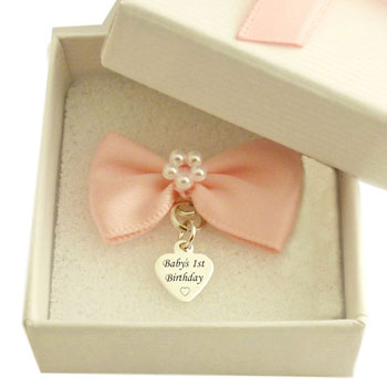 Sterling Silver First Birthday Heart Charm