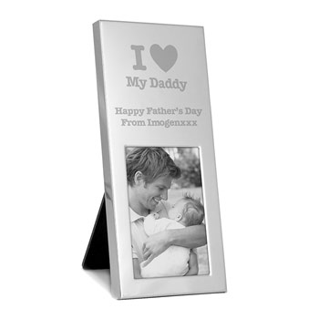 Personalised I Heart... Small Silver Father's Day Frame